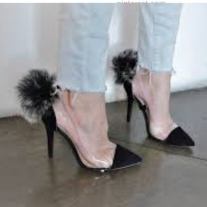 NIB Qupid Milia 58 Black see throw Pom Pom heels